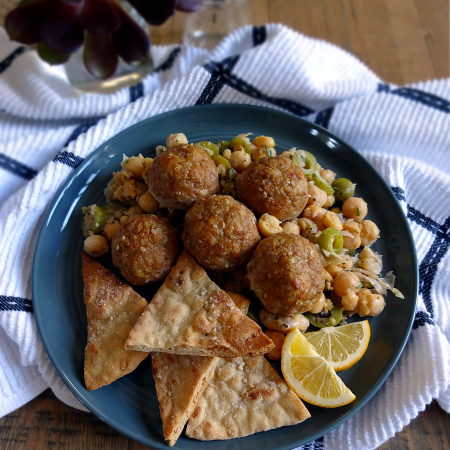 Sesame-Spiced Turkey Meatballs With Smashed Chickpea Salad