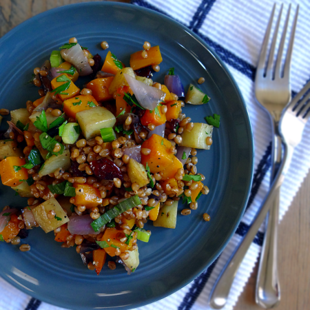 Roasted Vegetable and Wheat Berry Salad