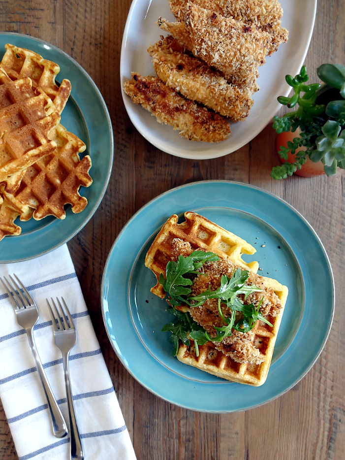 Oven-Fried Chicken and Waffles