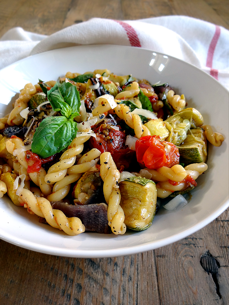 summer vegetables pasta with roasted summer vegetables and basil