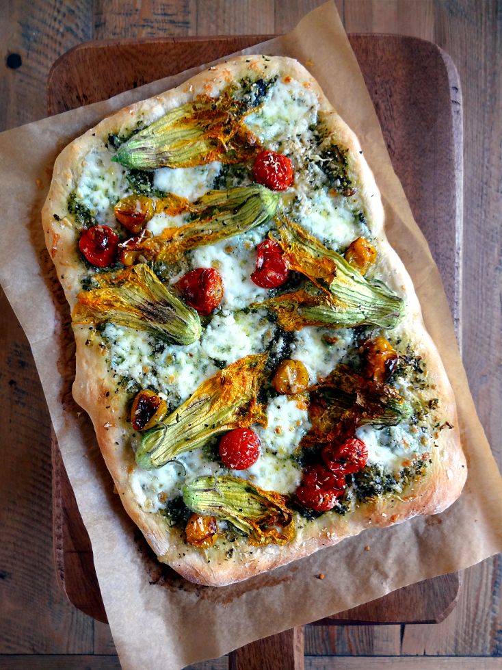No-Knead Pizza Dough With Squash Blossoms