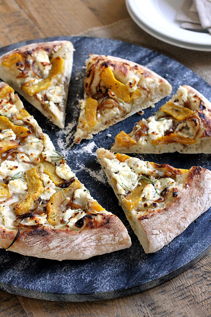 Acorn Squash, Caramelized Onion and Goat Cheese Pizza