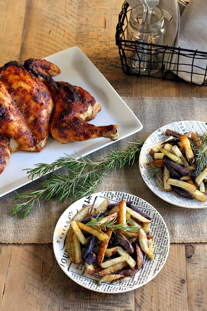 Spatchcocked Buffalo Chicken with Rosemary Oven Fries