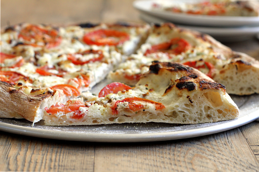 Tomato, Caramelized Onion and Goat Cheese Pizza