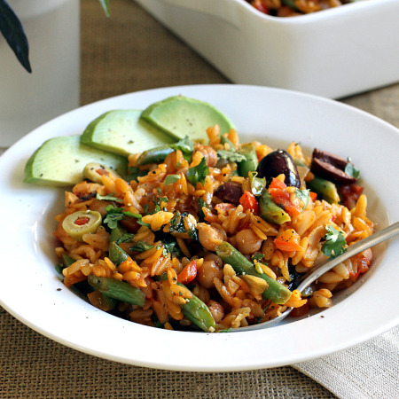 Vegetable Orzo Paella_plated_close