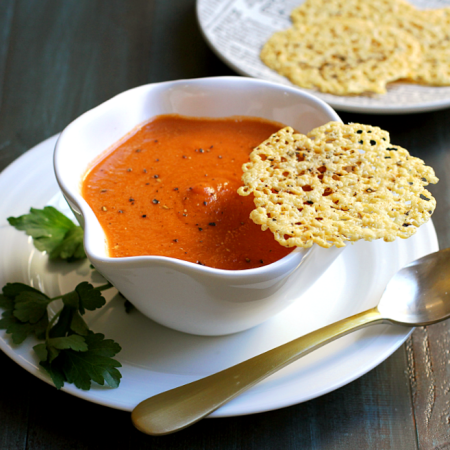Creamy Tomato Soup with Asiago and Black Pepper Frico