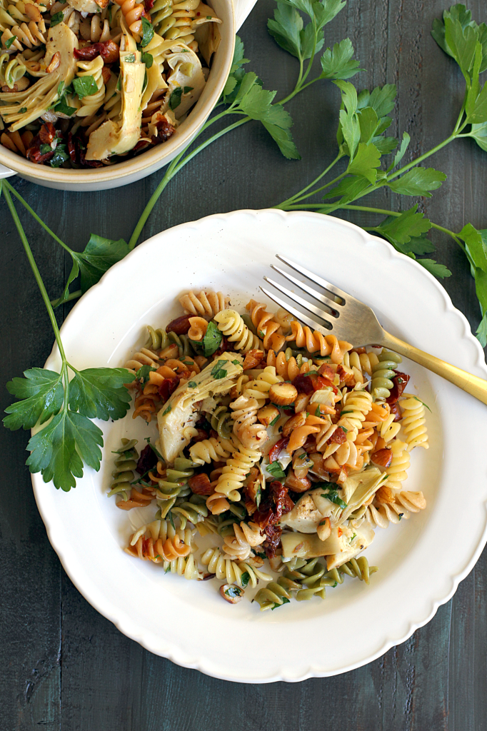 Easy Pasta Salad with Artichoke Hearts and Sun-Dried Tomatoes - Two of ...
