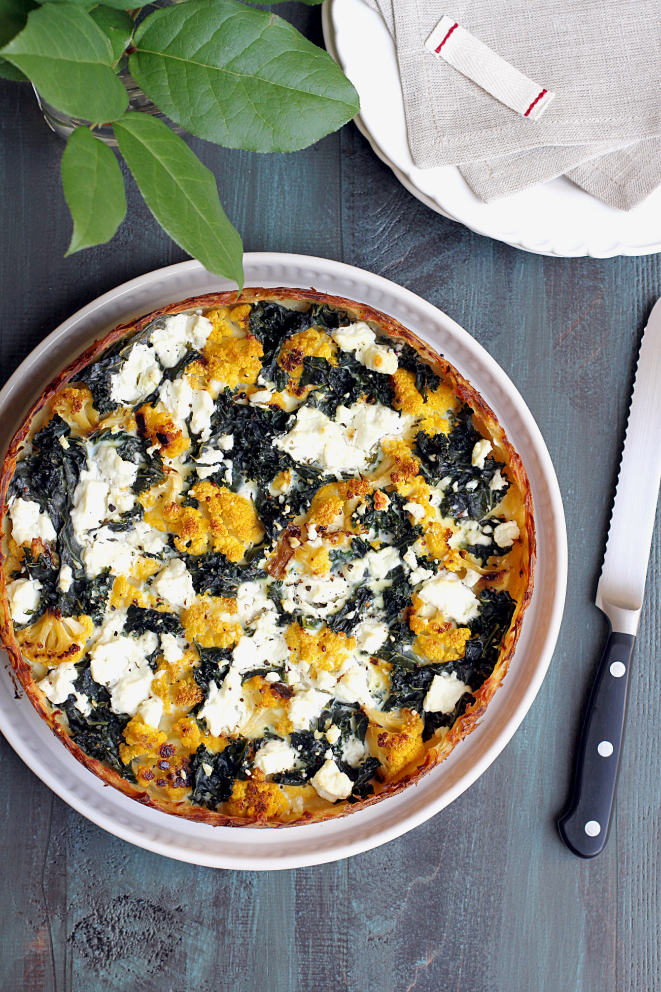 Cauliflower and Kale Quiche - Two of a Kind