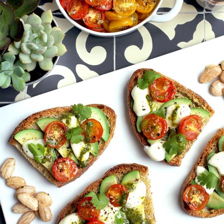 Honey-Roasted Tomato and Avocado Bruschetta