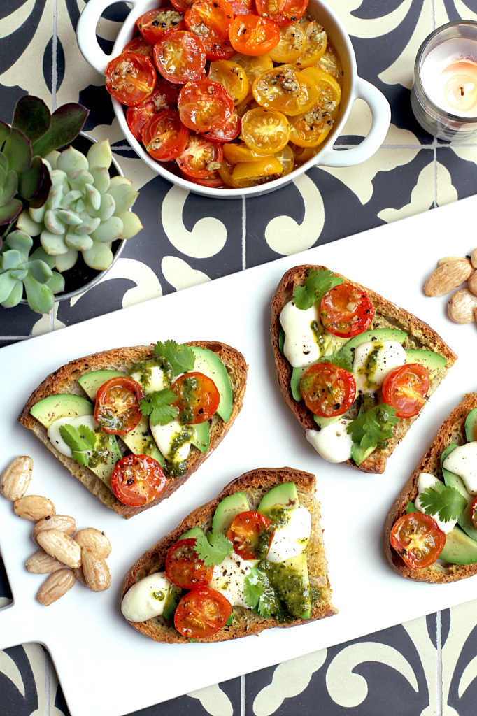 Honey-Roasted Tomato and Avocado Bruschetta - Two of a Kind