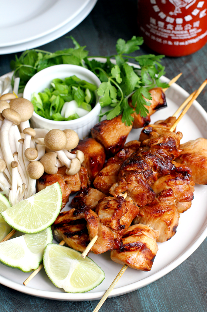 Grilled Honey Sriracha Chicken Kebabs from Two of a Kind [Recipe Round-Up at A Little Seed Grows]