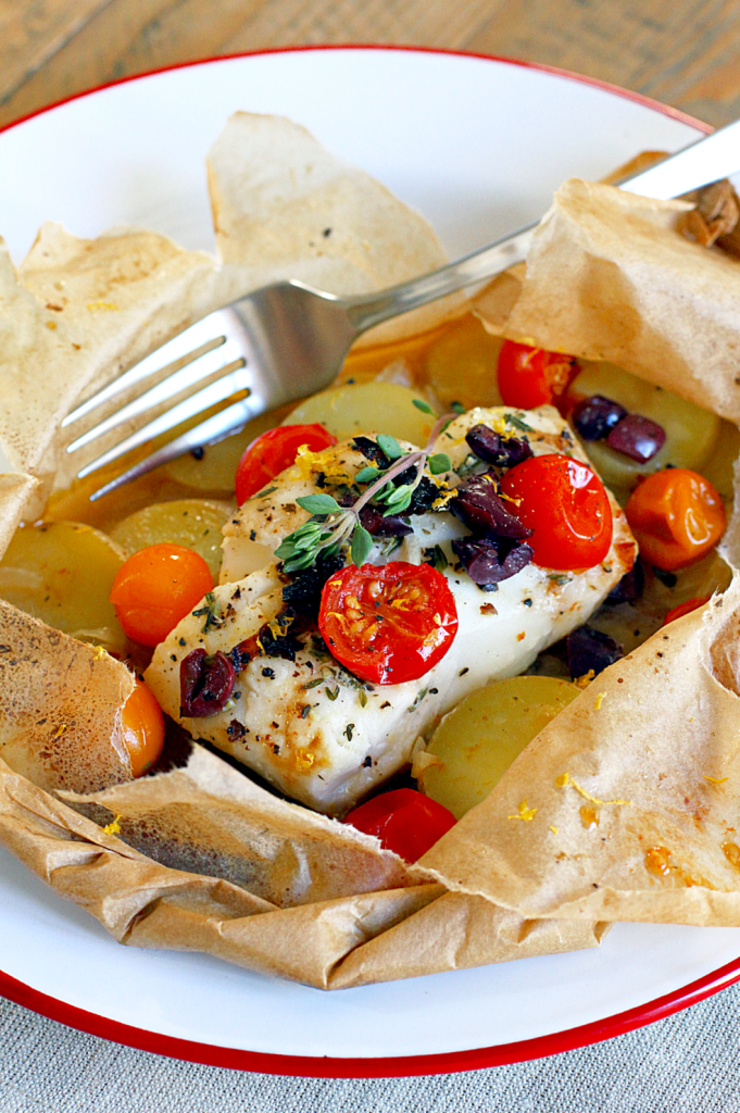 Mediterranean cod en papillote two of a kind for Fish in parchment recipes