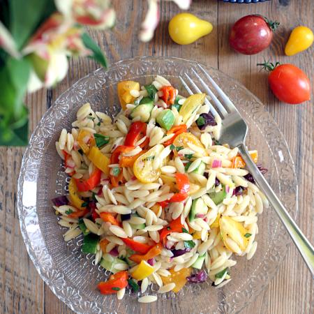 Rainbow Vegetable Orzo Pasta Salad