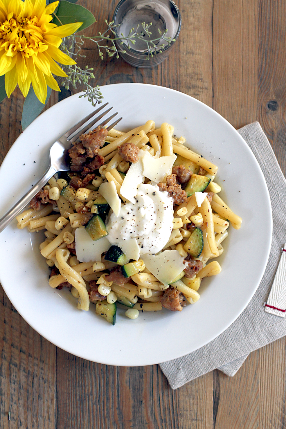 Pasta with Sausage, Zucchini, Corn and Burrata_top