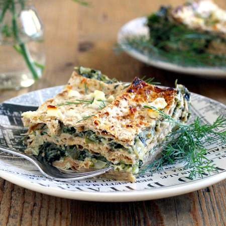 Spinach and Matzo Lasagna_piece