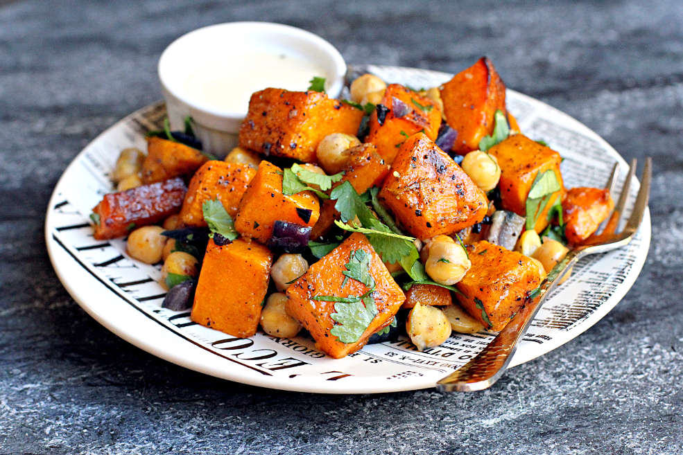 Roasted Butternut Squash and Chickpeas witih Tahini Dressing