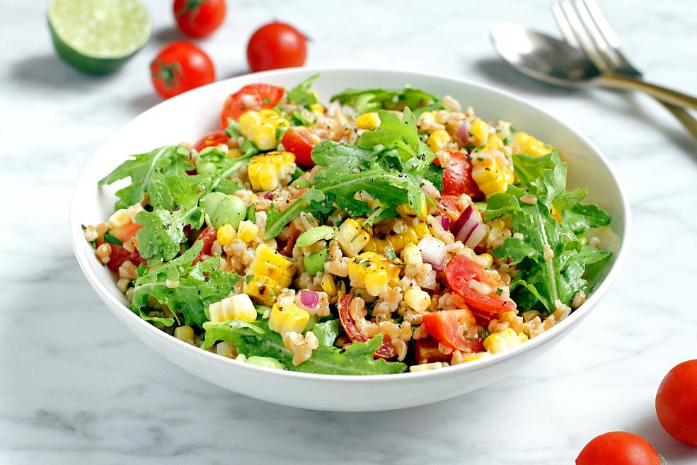 Farro And Cherry Salad With Champagne Vinaigrette Recipe — Dishmaps