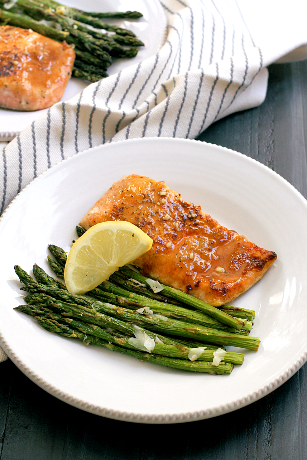 Honey-Glazed Salmon with Broiled Asparagus - Two of a Kind