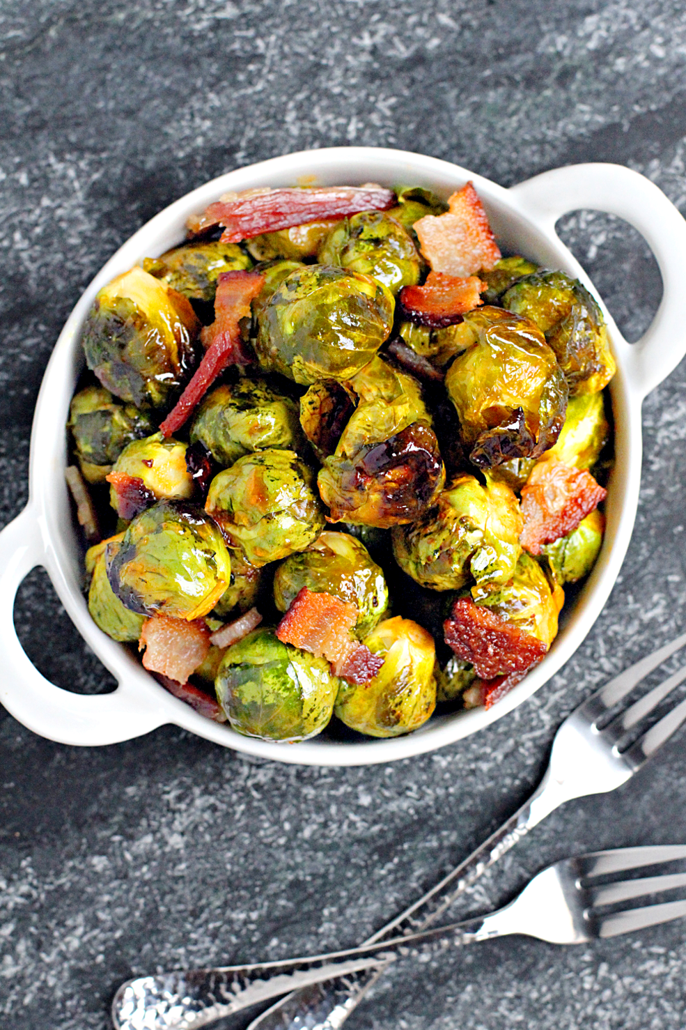 Image of roasted Brussels sprouts with bacon and honey-Sriracha glaze ...