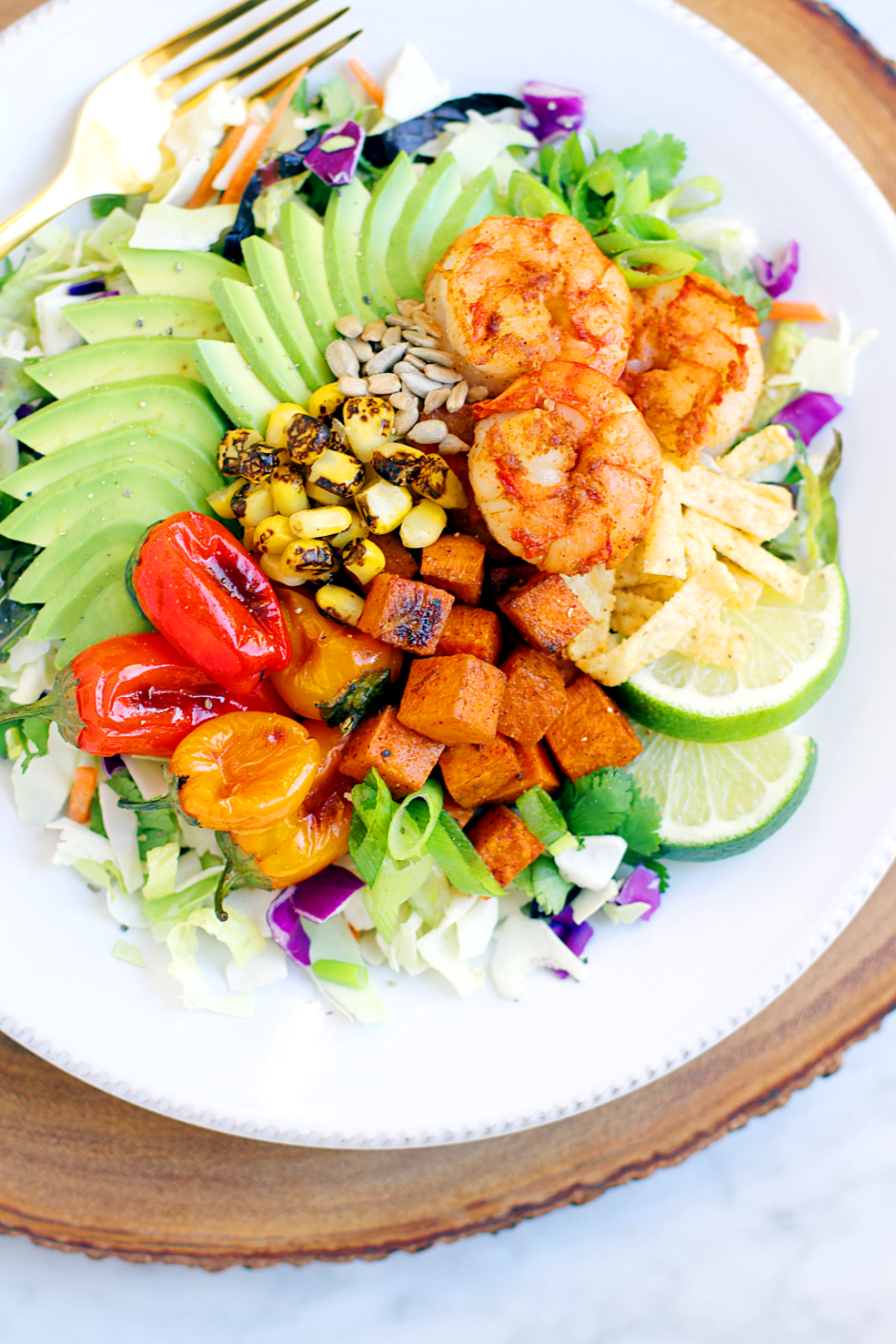 Close-up image of Southwestern shrimp salad.