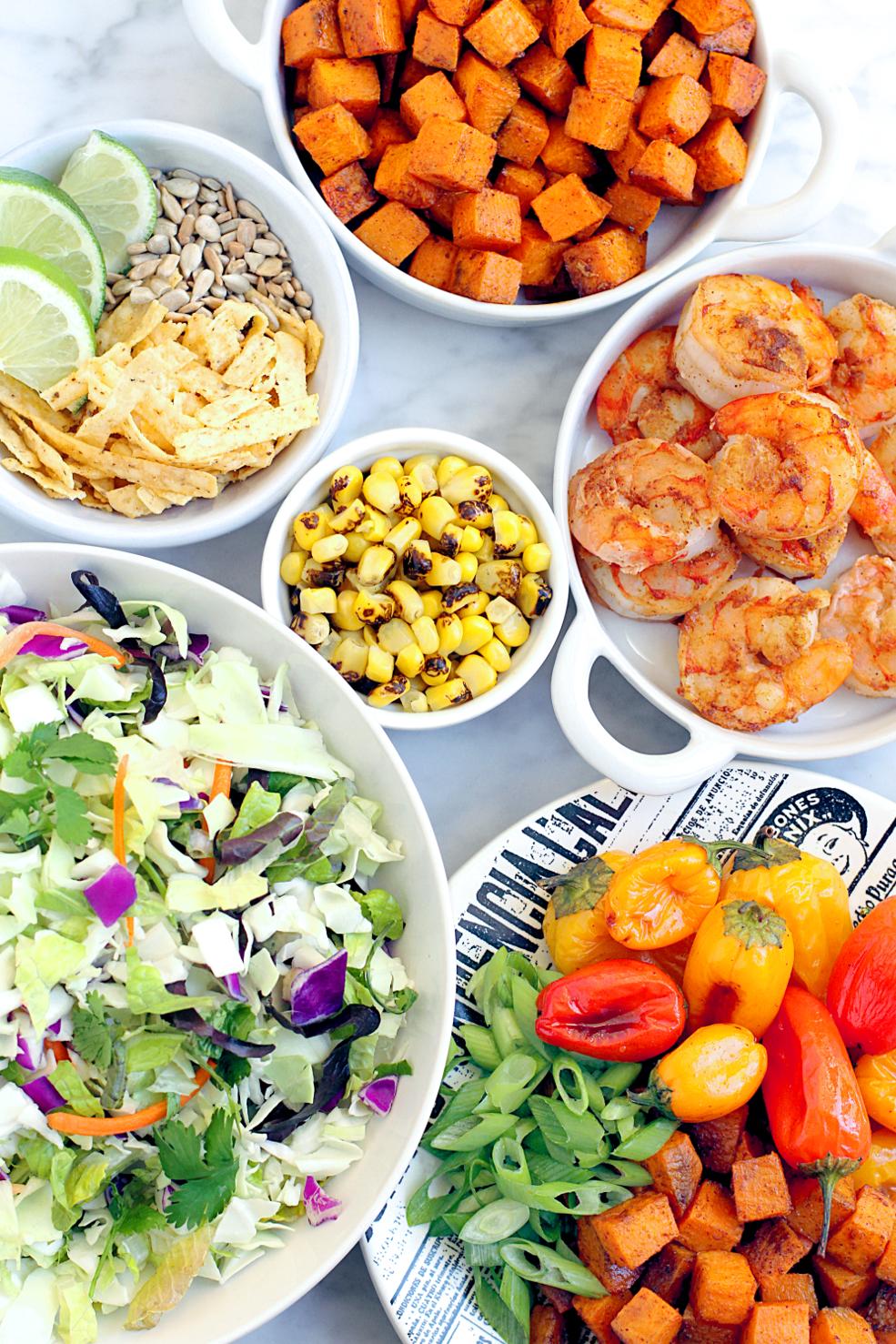 Image of Southwestern shrimp salad ingredients.
