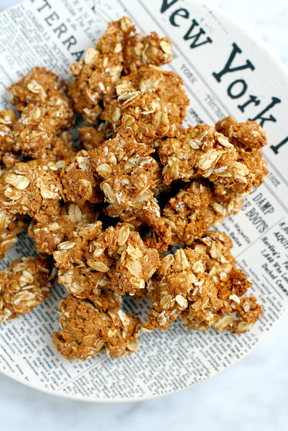 Close-up image of gluten-free peanut butter cookie granola.