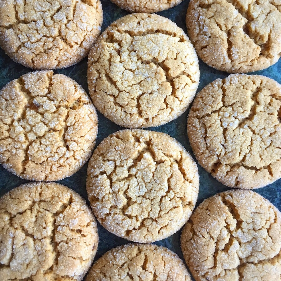 Image of peanut butter crinkle cookies.