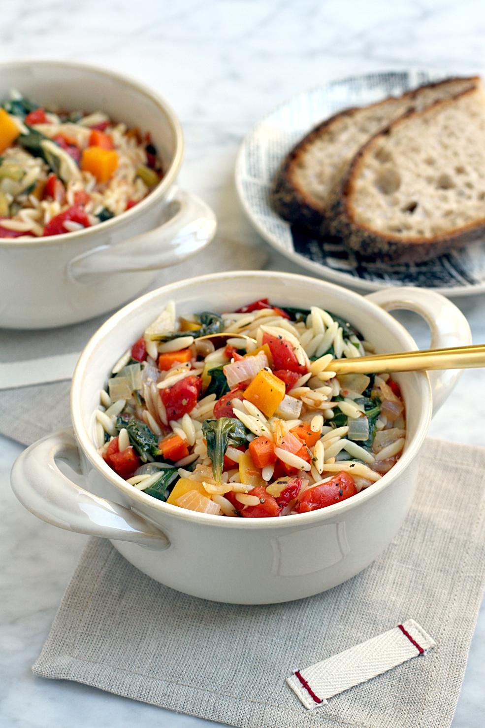 Image of vegetable and orzo soup.