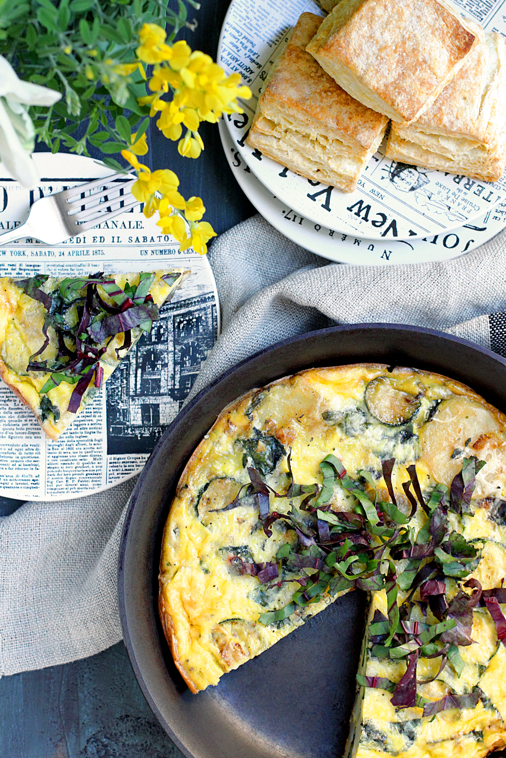 Frittata with Beet Greens, Zucchini and Potatoes