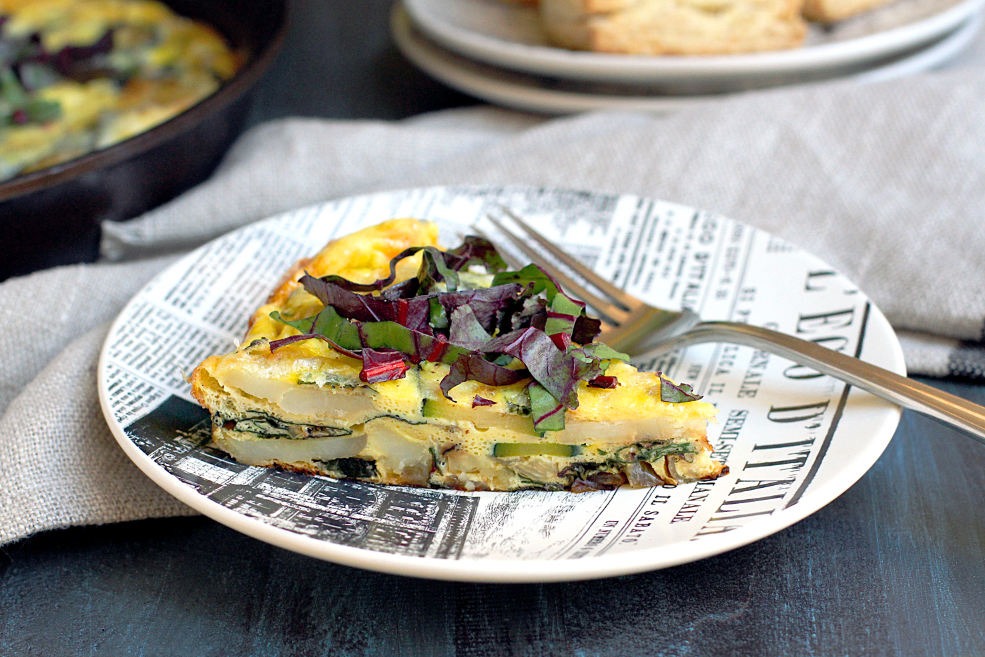 Frittata with Beet Greens, Zucchini and Potatoes_slice