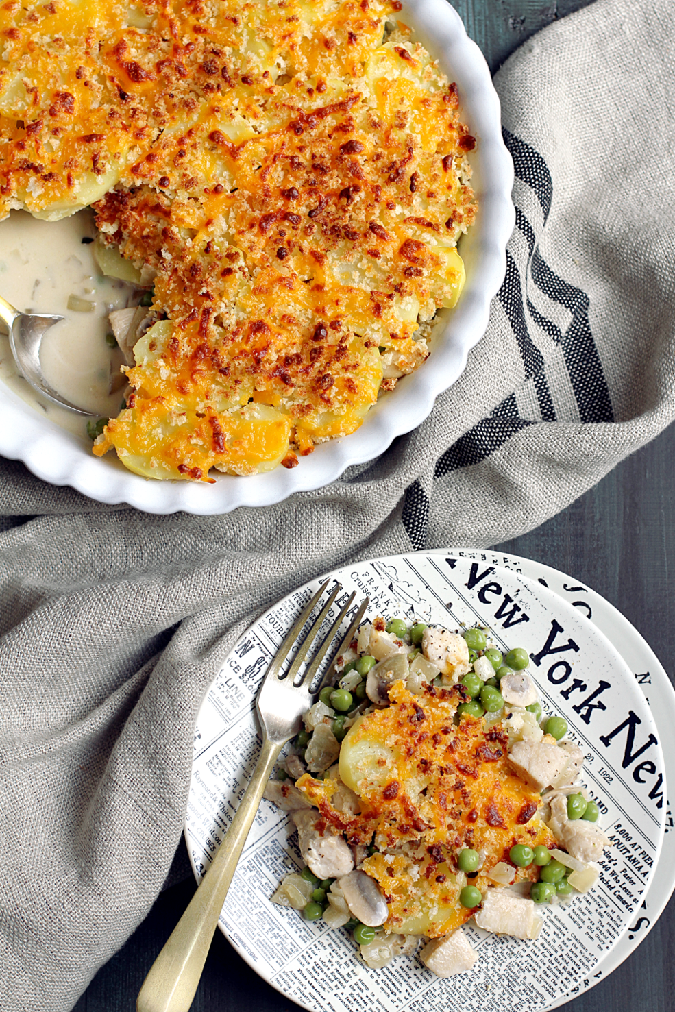 Image of potato-topped chicken pot pie from the top.