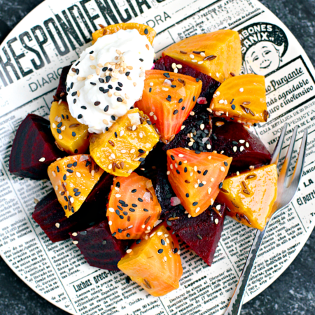 Roasted and Marinated Beets with Fromage Blanc