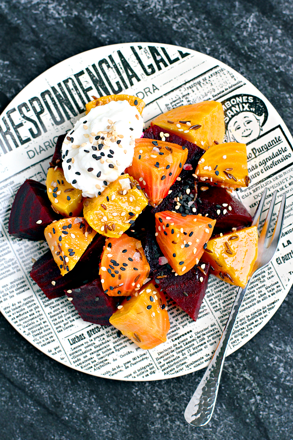 Image of roasted and marinated beets with fromage blanc.