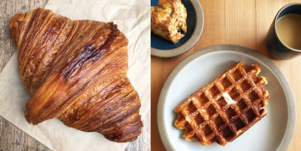 Image of a croissant from Tartine Bakery and a Liège waffle from Tartine Manufactory.