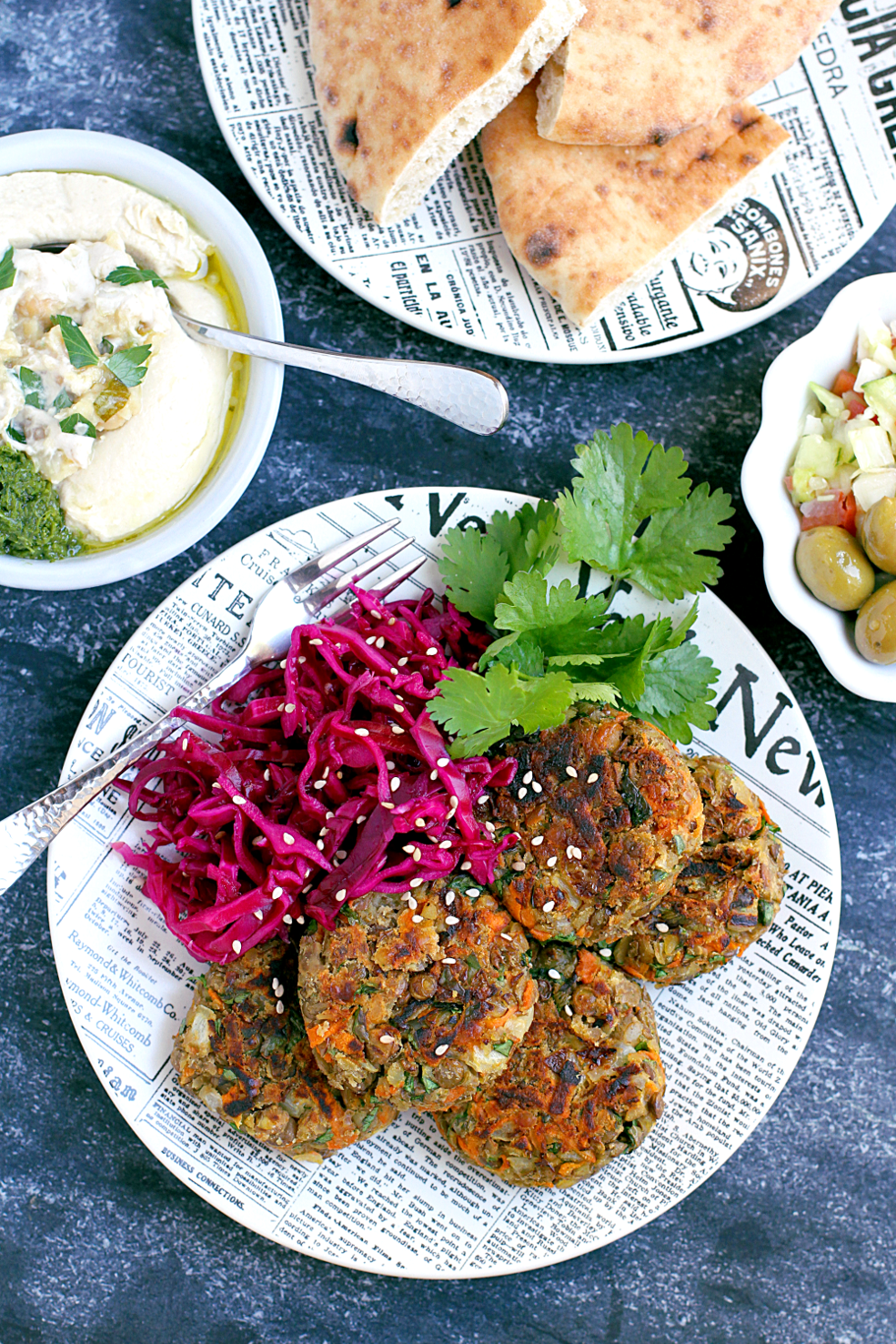 Image of lentil patties with pickled cabbage.