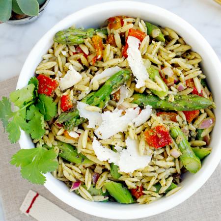 Orzo Pasta Salad with Basil Pesto