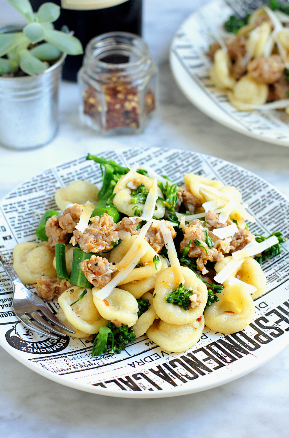 Image of homemade orecchiette with sausage and broccolini.