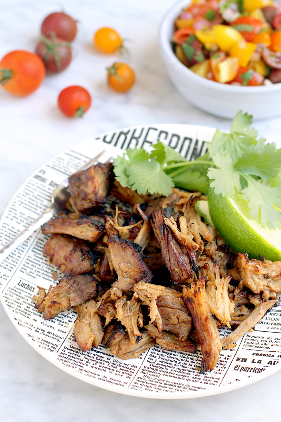Image of lighter carnitas with cherry tomato pico de gallo.