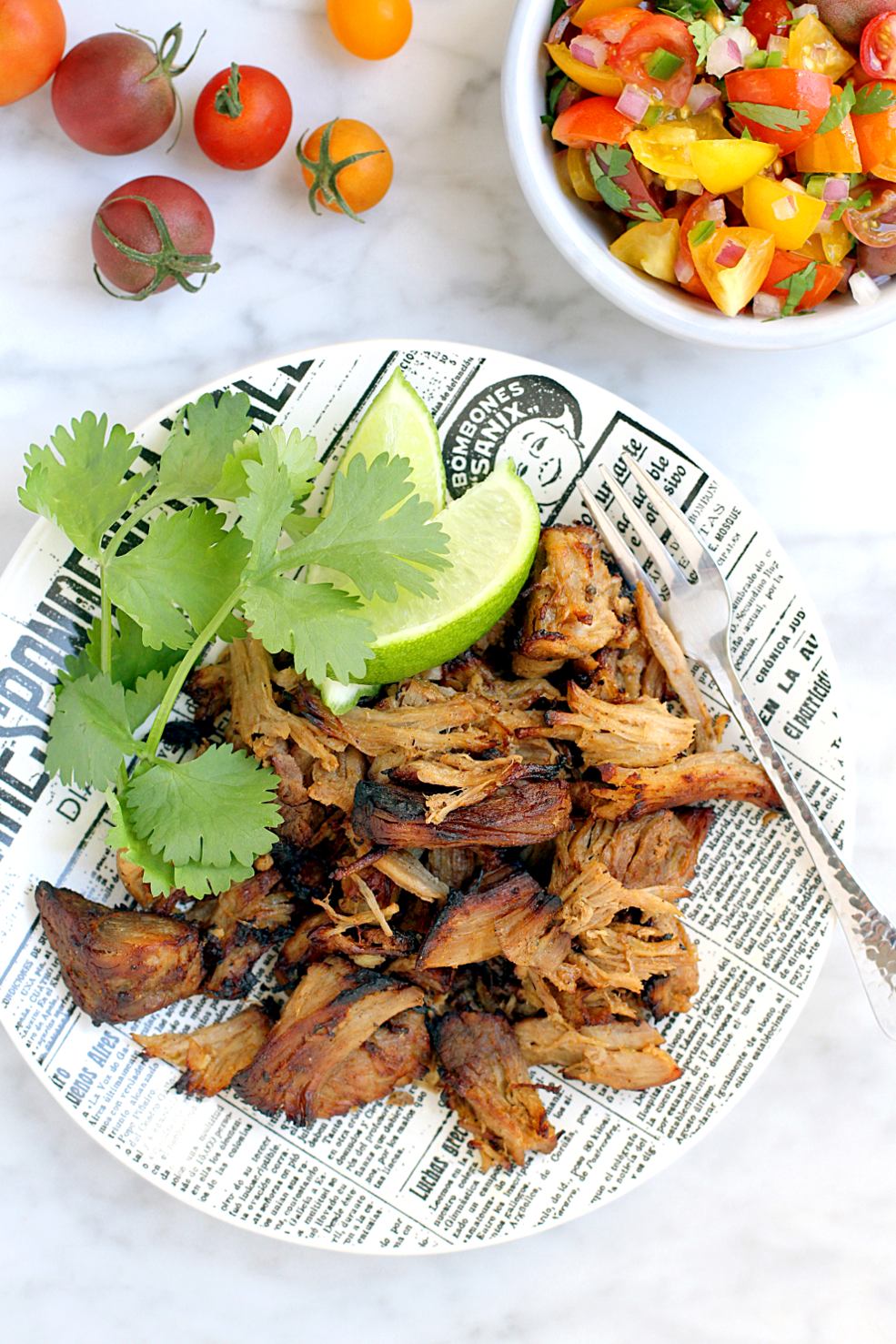Image of lighter carnitas with cherry tomato pico de gallo from the top.
