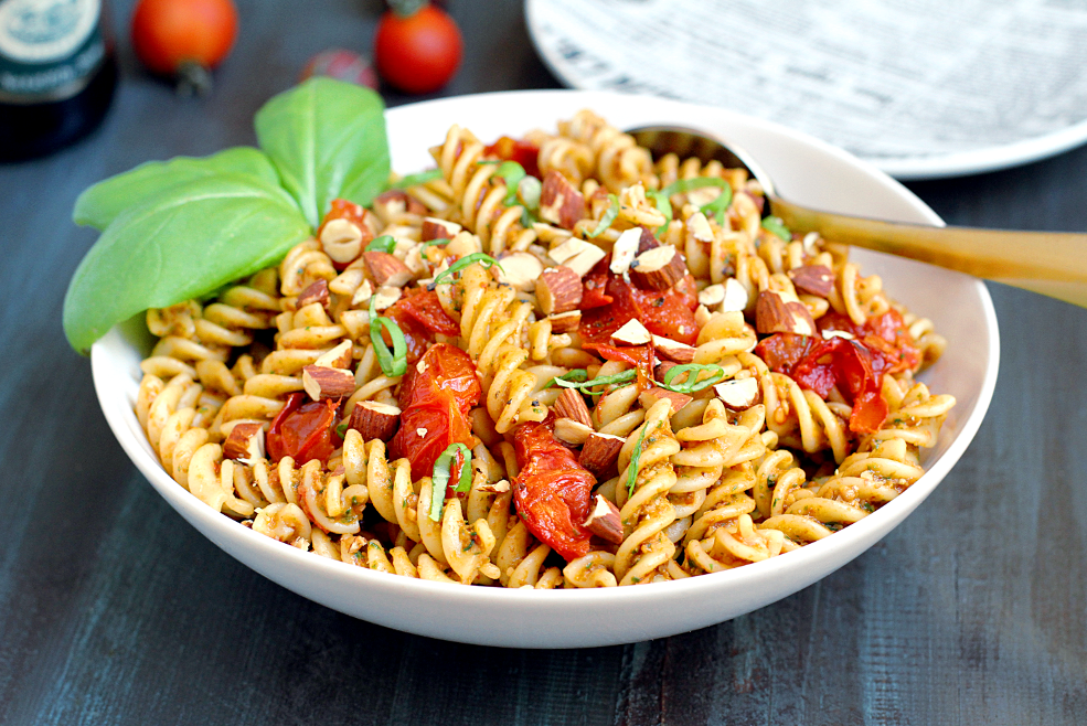 Image of pasta with roasted tomato pesto.