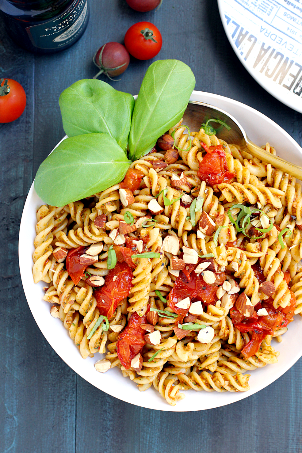 Image of pasta with roasted tomato pesto from the top.