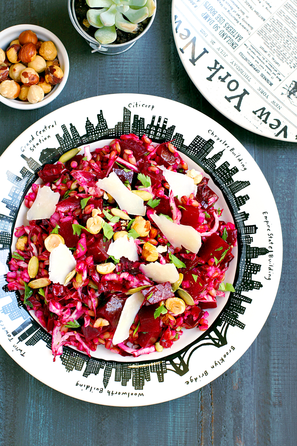 Image of roasted beet and barley salad from the top.