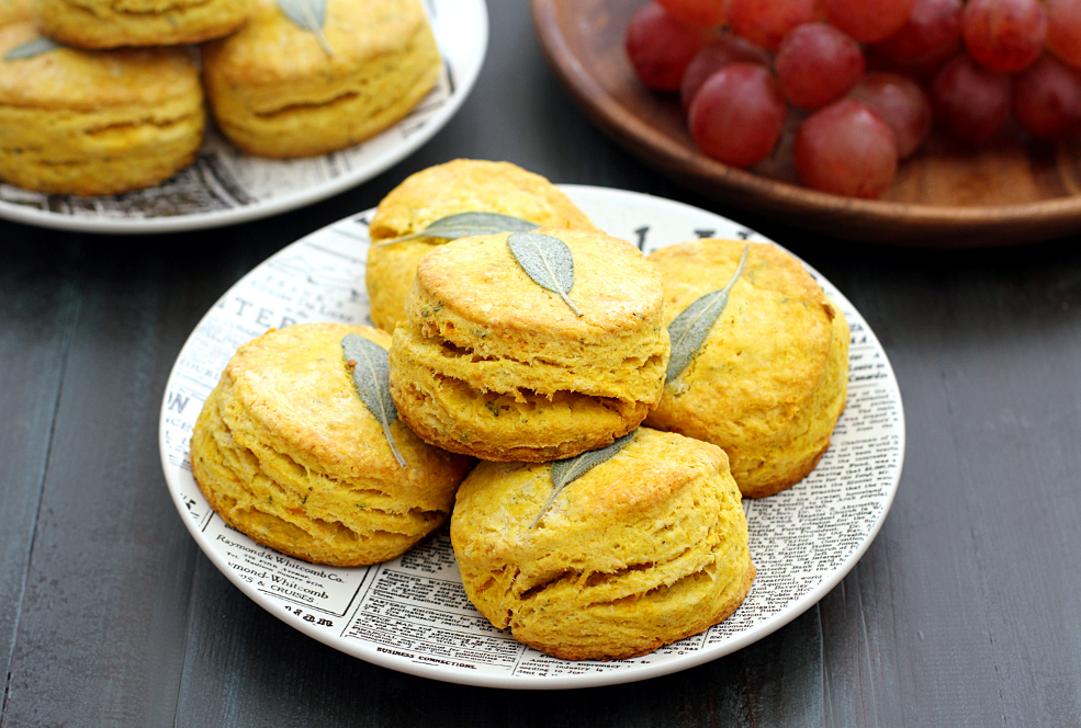 Close-up image of honeynut squash and sage biscuits.