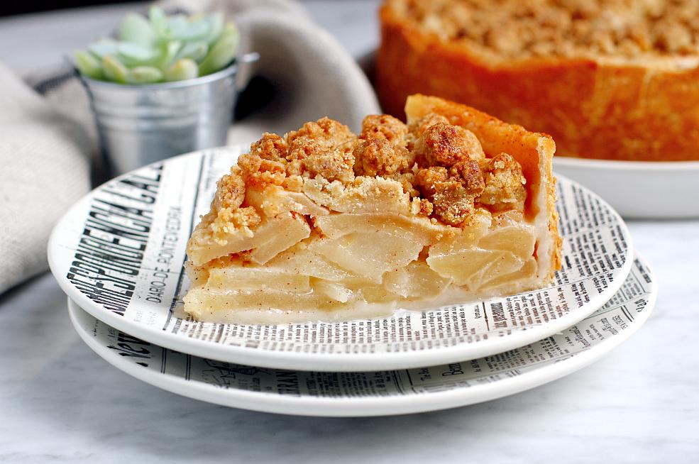 Image of a slice of Pennsylvania Dutch apple pie.