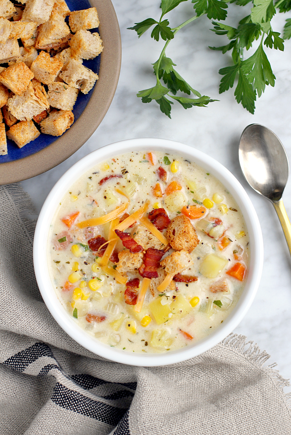 Image of bacon, cheese and corn chowder.