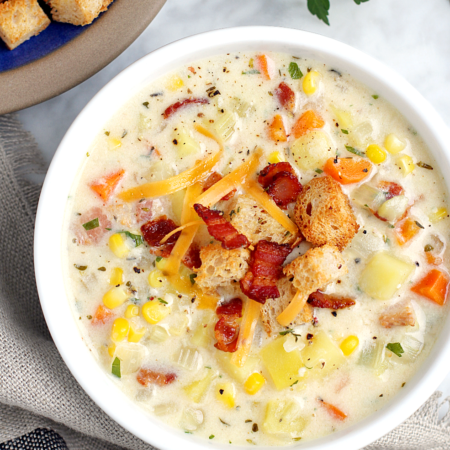 Bacon, Cheese and Corn Chowder_close
