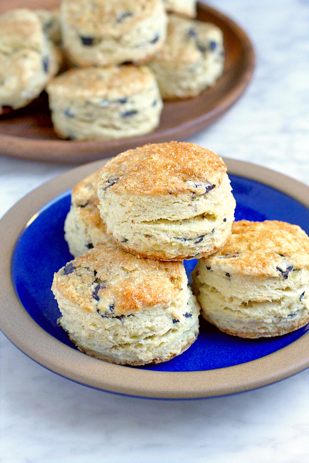 Image of blueberry coconut cream scones.