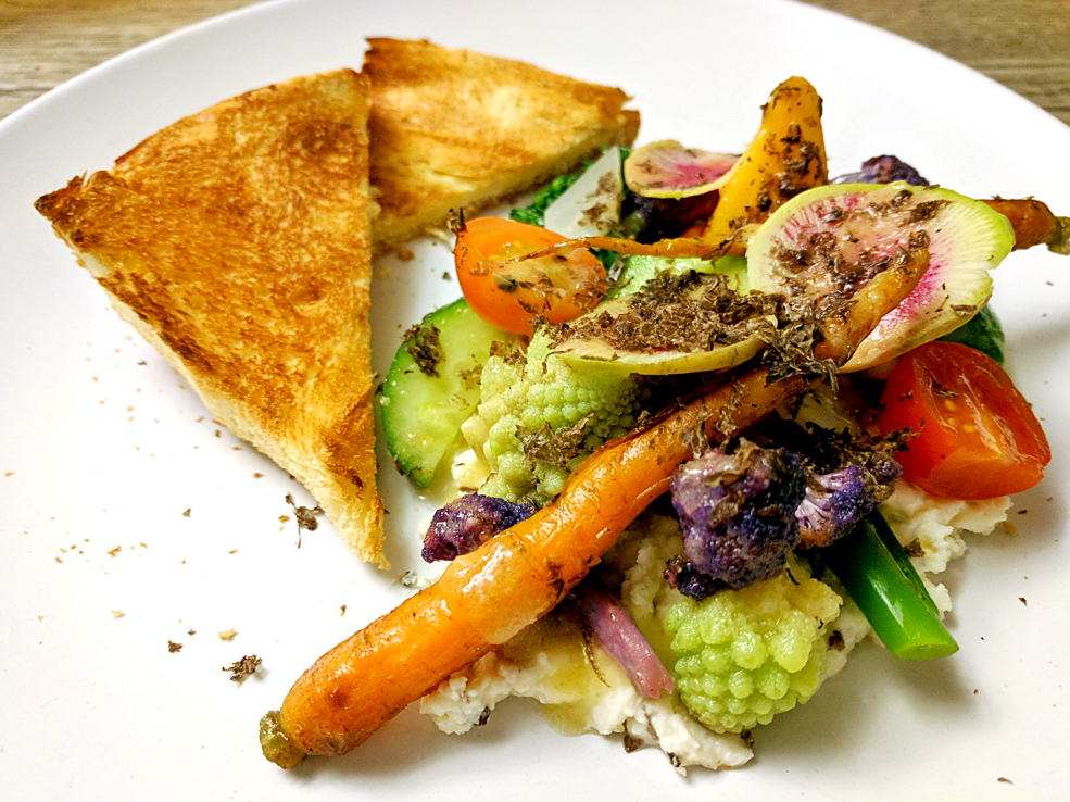 Image of variations of vegetables with Périgord truffle whipped ricotta, preserved Meyer lemon vinaigrette and brioche prepared by Mark Nargi.
