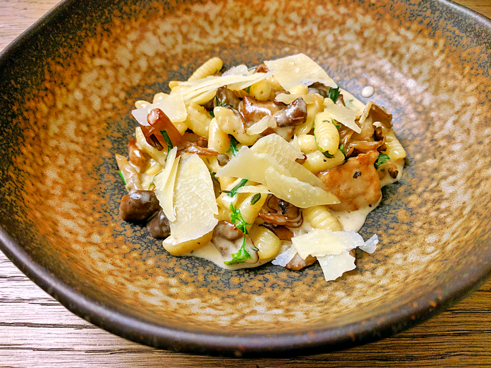Image of homemade cavatelli with mixed mushrooms, shallots and Piave Vecchio prepared by Mark Nargi.
