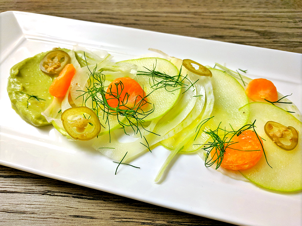 Image of fennel and apple crudo with avocado mousse, backyard yuzu, mandarins, pickled Fresno chiles and extra virgin olive oil prepared by Mark Nargi.
